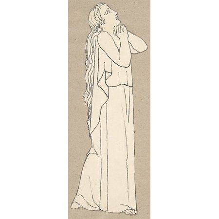 """Design for large fireplace white tiles produced in Wedgwoods factory Poster Print by After John Flaxman (British York 1755  """"1826 London) (18 x 24)"""