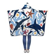 ASHLEIGH Sharks Shells Starfishes Corals Hooded Blanket 40x50 inches Toddler Kid Baby Boys Girls Throw Polar Fleece Blankets Wrap