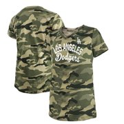 Los Angeles Dodgers New Era Girls Youth 2021 Armed Forces Day Brushed Camo V-Neck T-Shirt - Green