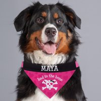 Personalized Bad To The Bone Dog Bandana Collar Cover, Pink