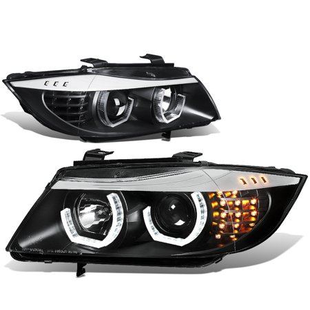 For 2005 to 2008 BMW E90 3 -Series 3D LED Halo Projector HeadLight Black Housing Amber Corner Headlamp 06 07 06 07 Sedan 330XI 335XI Bmw 3 Series Coupe Headlamp