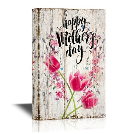 wall26 Canvas Wall Art - Happy Mother'S Day with Floral Wooden Textured Background - Mother's Day Gift | Gallery Wrap Modern Home Decor | Ready to Hang - 12x18 inches