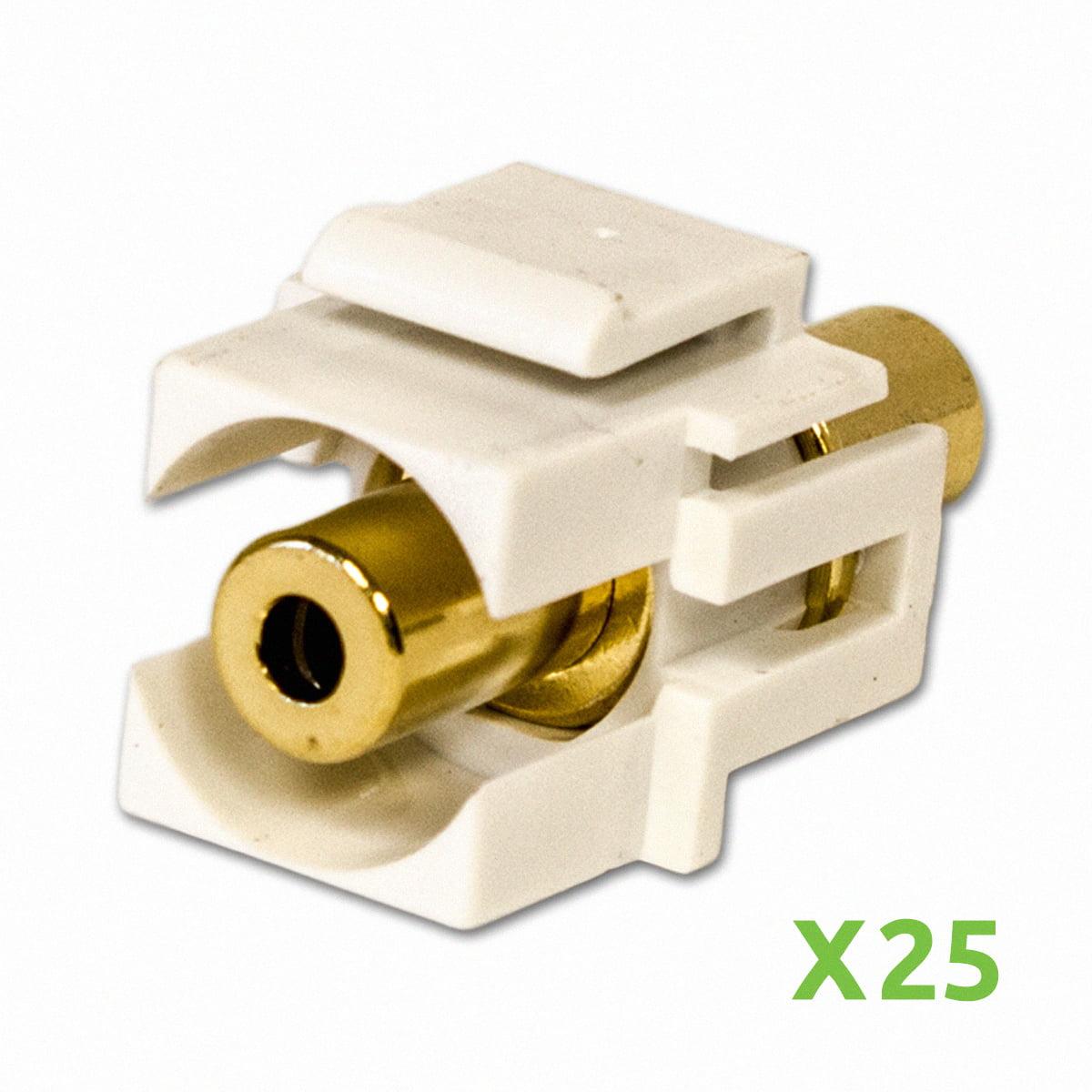NavePoint 3.5mm Female to Female Keystone Adapter White 25-pack