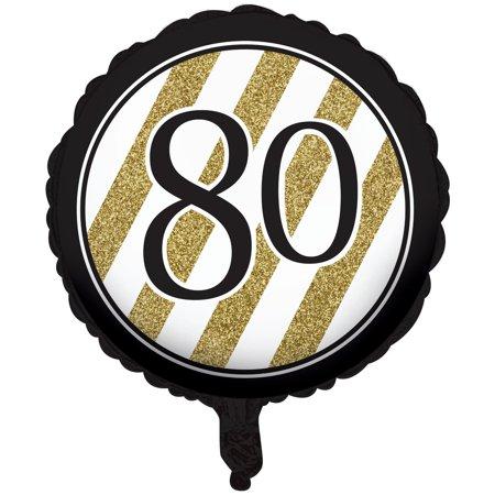 80th Birthday Balloons (Black & Gold Metallic 80th Birthday)