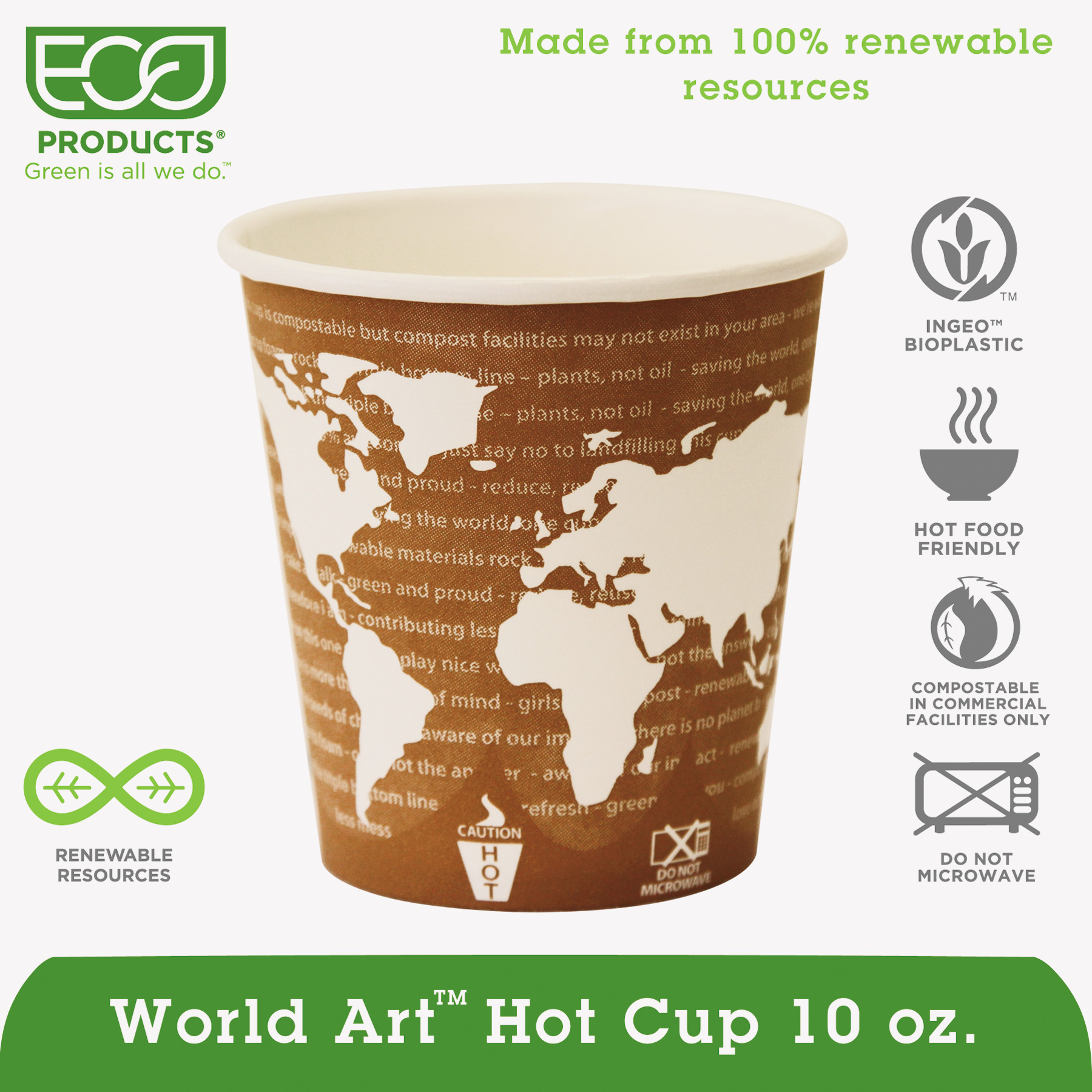 Eco-Products World Art Renewable & Compostable Hot Cups Convenience Pack - 10 oz., 50/PK