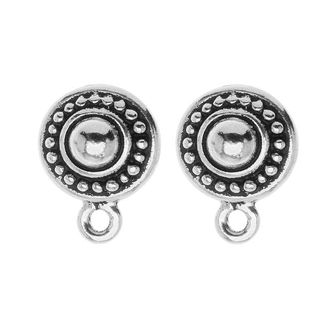Silver Plated Pewter Stud Post Earrings Beaded Round 11mm (1 Pair)
