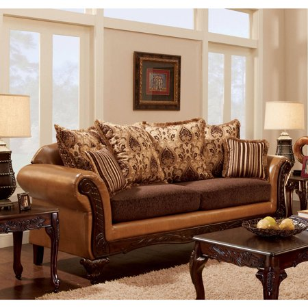Furniture of America Ardath Traditional Sofa, Camel Brown ()