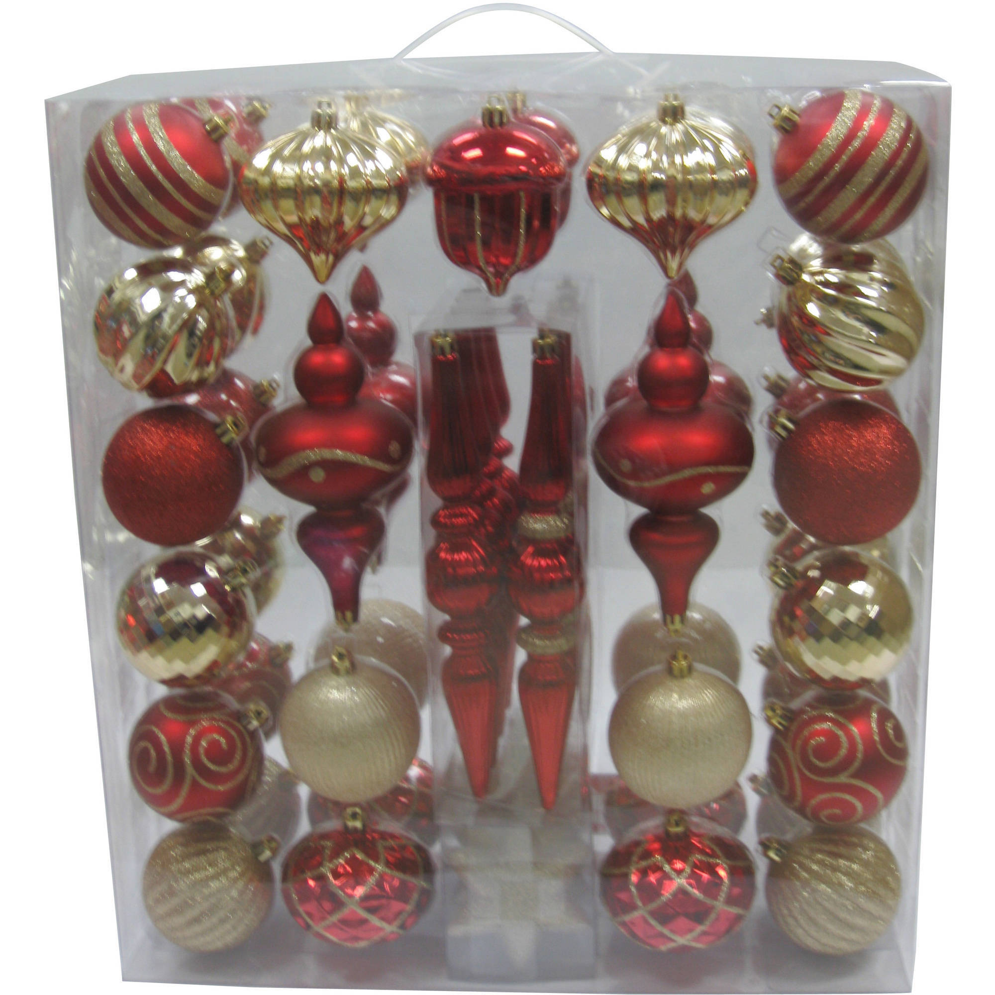 holiday time 54 piece shatterproof christmas ornament set red and gold walmartcom