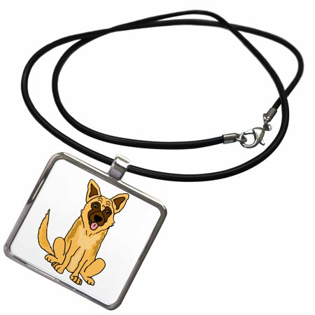 3dRose Fantastic Cute Funny Belgian Malinois Puppy Dog Cartoon - Necklace with Pendant (ncl_270132_1)
