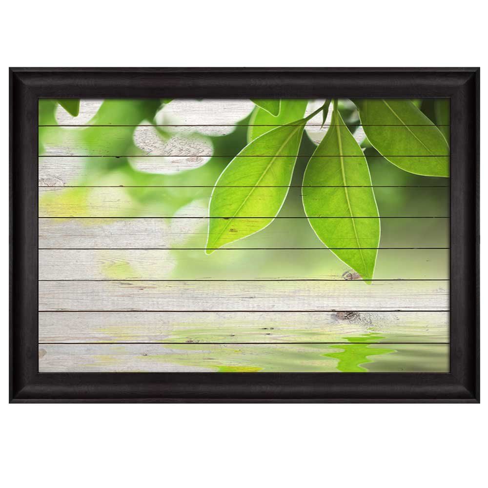 wall26 - Leaf Branches at The Top Over Green Wooden Panels - Nature - Framed Art Prints, Home Decor - 16x24 inches
