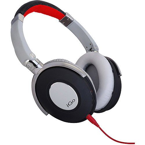 iGo City Active Noise Canceling Headphones, White/Red