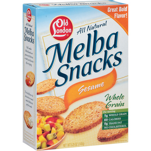 Old London All Natural Sesame Whole Grain Melba Snacks, 5.25 oz (Pack of 12)