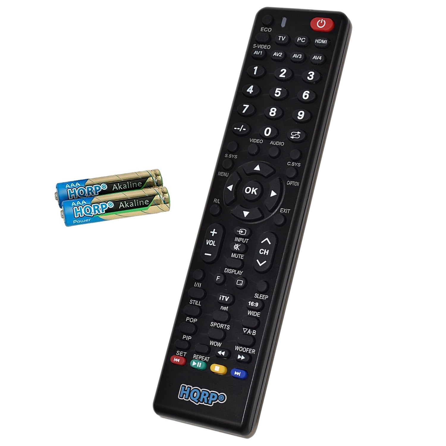 HQRP Remote Control for Sanyo DP50E44, DP50E84, DP52440, DP52449 LCD LED HD TV Smart 1080p 3D Ultra 4K + HQRP Coaster