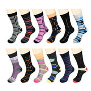12 Pairs Men Dress Socks Funky Pack - W932G-Assort