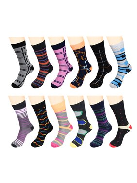 ec6b227cdd40 Product Image 12 Pairs Men Dress Socks Funky Pack - W932G-Assort