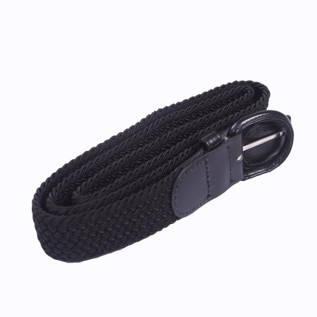 Women's Elastic Fabric Woven Stretch Belt with Leather Inlay