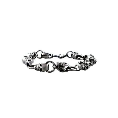 Men's Stainless Steel Sideways Skull Link Bracelet, 9