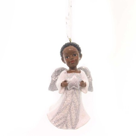 Holiday Ornaments AFRICAN AMERICAN ANGEL Polyresin Silver Glittered Wings  Black - Holiday Ornaments AFRICAN AMERICAN ANGEL Polyresin Silver Glittered