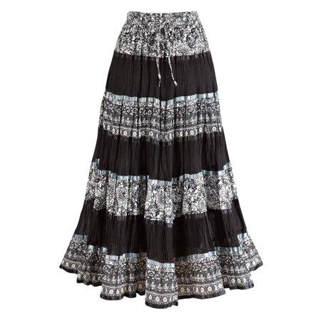 b1705c84ea Women's Peasant Skirt - Enchanting Black And White Long Cotton Skirt