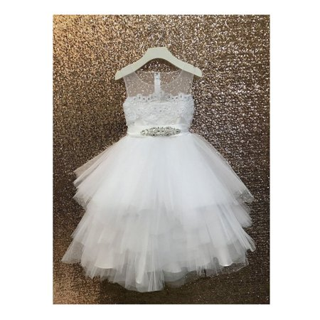 Girls White Beaded Applique Fancy Junior Bridesmaid Dress - Fancy Dress Clearance