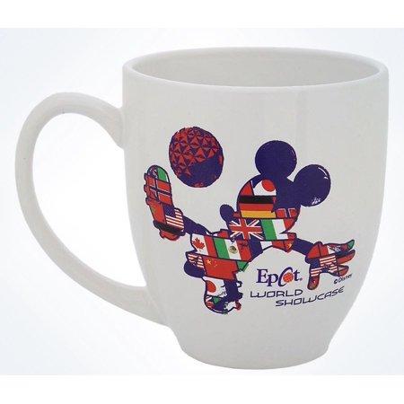 Disney Parks Epcot Mickey Mouse Flags Soccer Ceramic Coffee Mug New