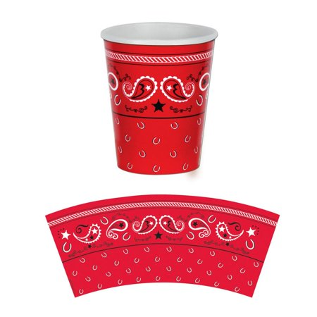 (Pack of 96) Bandana Beverage Cups Western Party Decorations