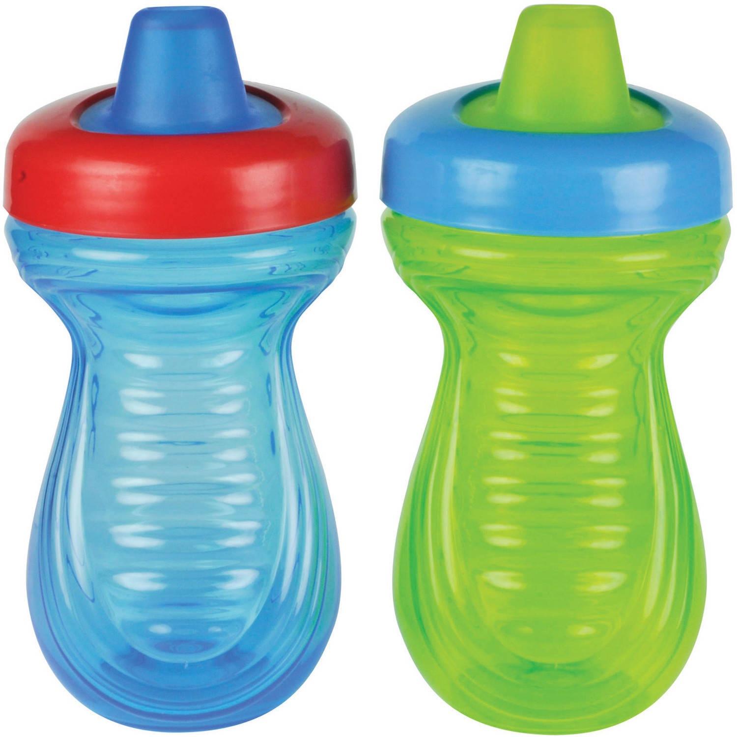 The First Years Spill-Proof Soft Spout Sippy Cup with One Piece Lid, 2pk, Blue/Green, BPA-Free