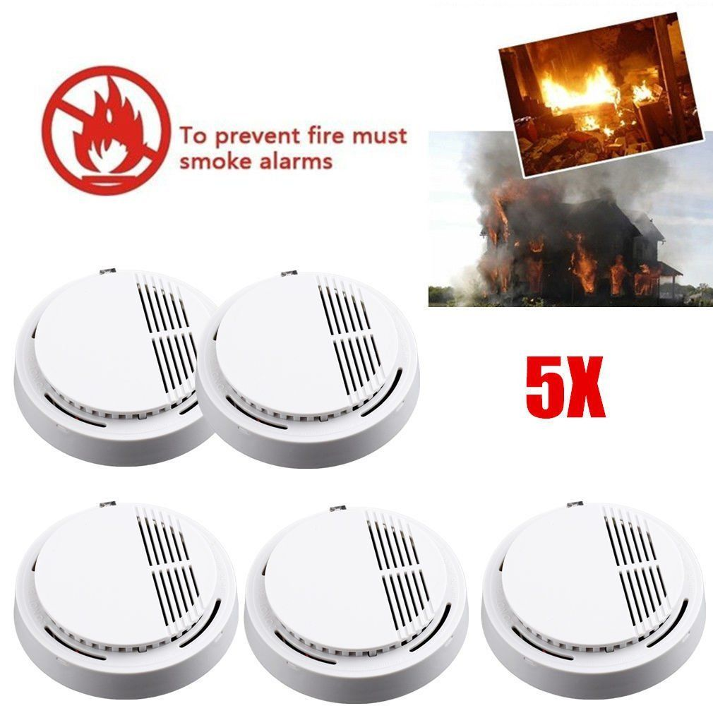5 x Fire Smoke Sensor Detector Alarm Tester Home Security System Cordless