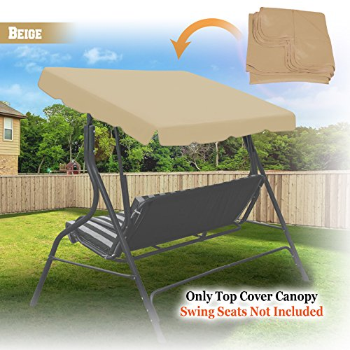 "New 73 ""x52"" Swing Canopy Replacement Porch Top Cover Seat Patio Outdoor Furniture (Beige)"