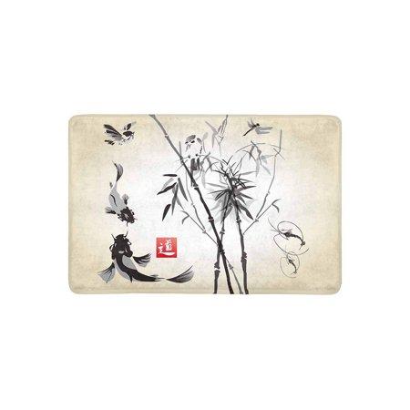 MKHERT Oriental Ink and Wash Painting Bamboo Drangonfly and Koi Fish Doormat Rug Home Decor Floor Mat Bath Mat 23.6x15.7 inch ()