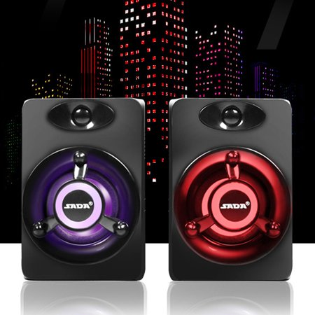 SADA Mini 2.0 Computer Speaker Colorful LED Light Heavy Bass Subwoofer USB2.0 Home Audio for Desktop PC / Laptop/ Cellphone (Computer Speakers With Led Lights)