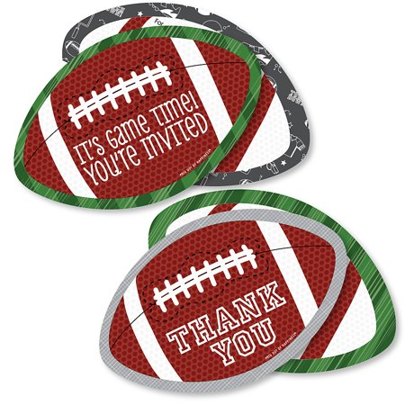 End Zone - Football - 20 Shaped Fill-In Invitations and 20 Shaped Thank You Cards Kit - Baby Shower or Birthday Party Stationery Kit - 40 - Football Stationery