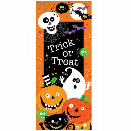 Plastic Trick or Treat Halloween Door Poster, 5 x - Cartoon Halloween Trick Or Treating