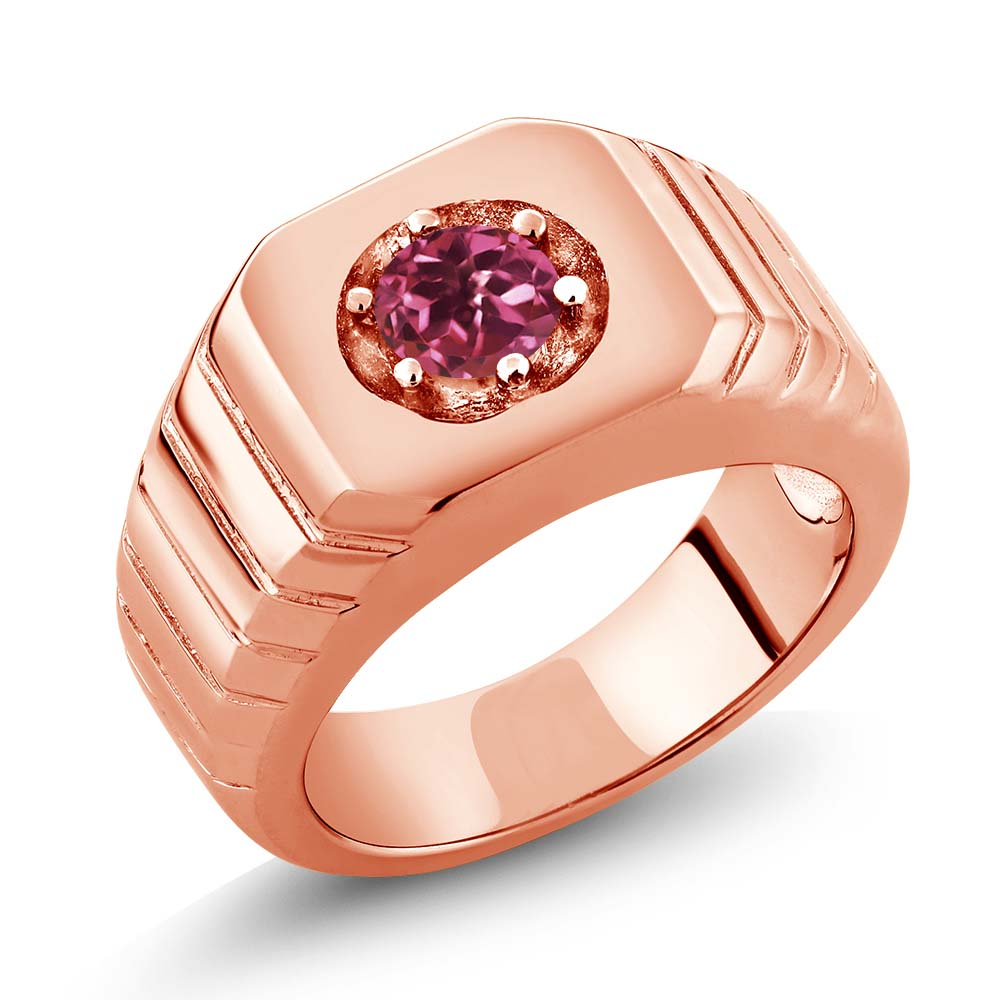 0.50 Ct Round Pink VS Tourmaline 14K Rose Gold Men's Solitaire Ring by