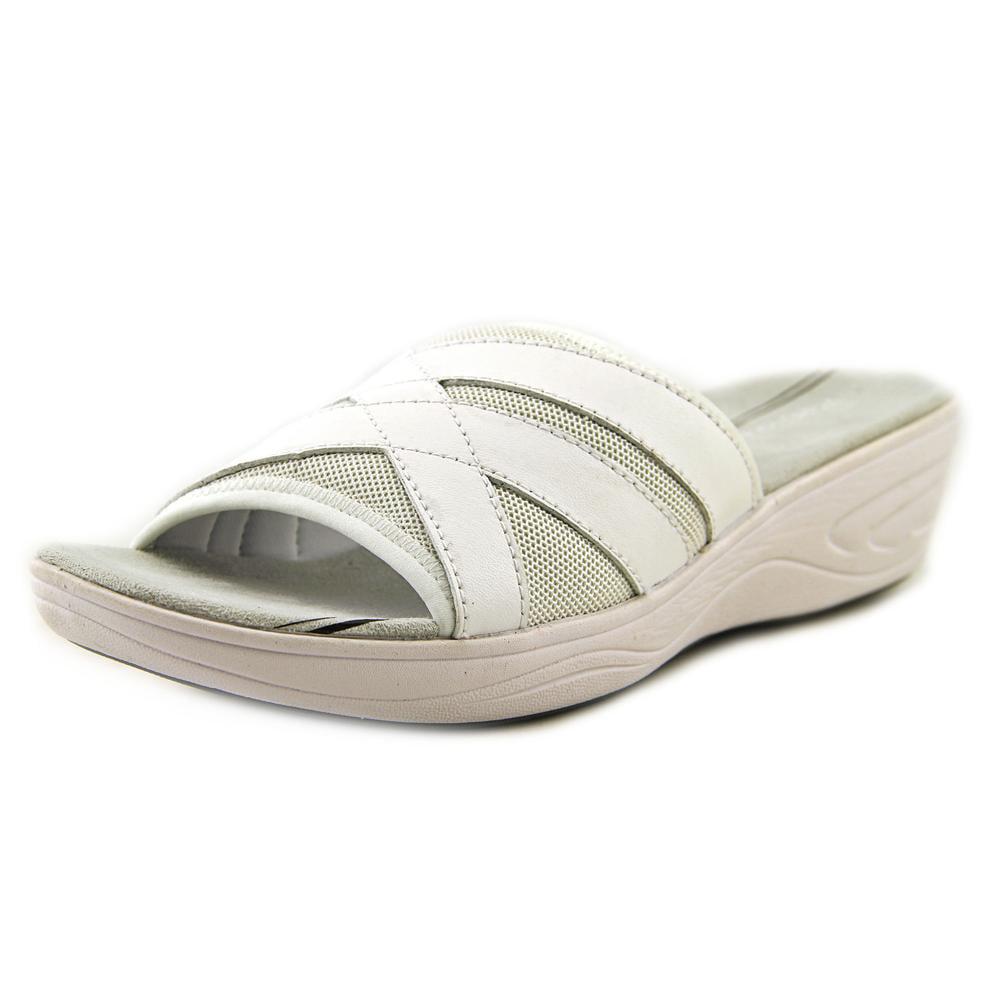 Easy Spirit Mariner Women Open Toe Leather White Slides Sandal by Easy Spirit
