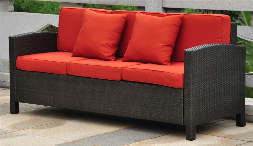 Wicker Resin Aluminum Outdoor Sofa with Cushions by International Caravan