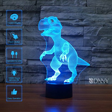 dinosaur 3d illusion led night lamp desk lamp 3d optical illusion visualization led night lights table lamp 7 colors 3d illusion lights multicolored usb power for living bed room bar best gift