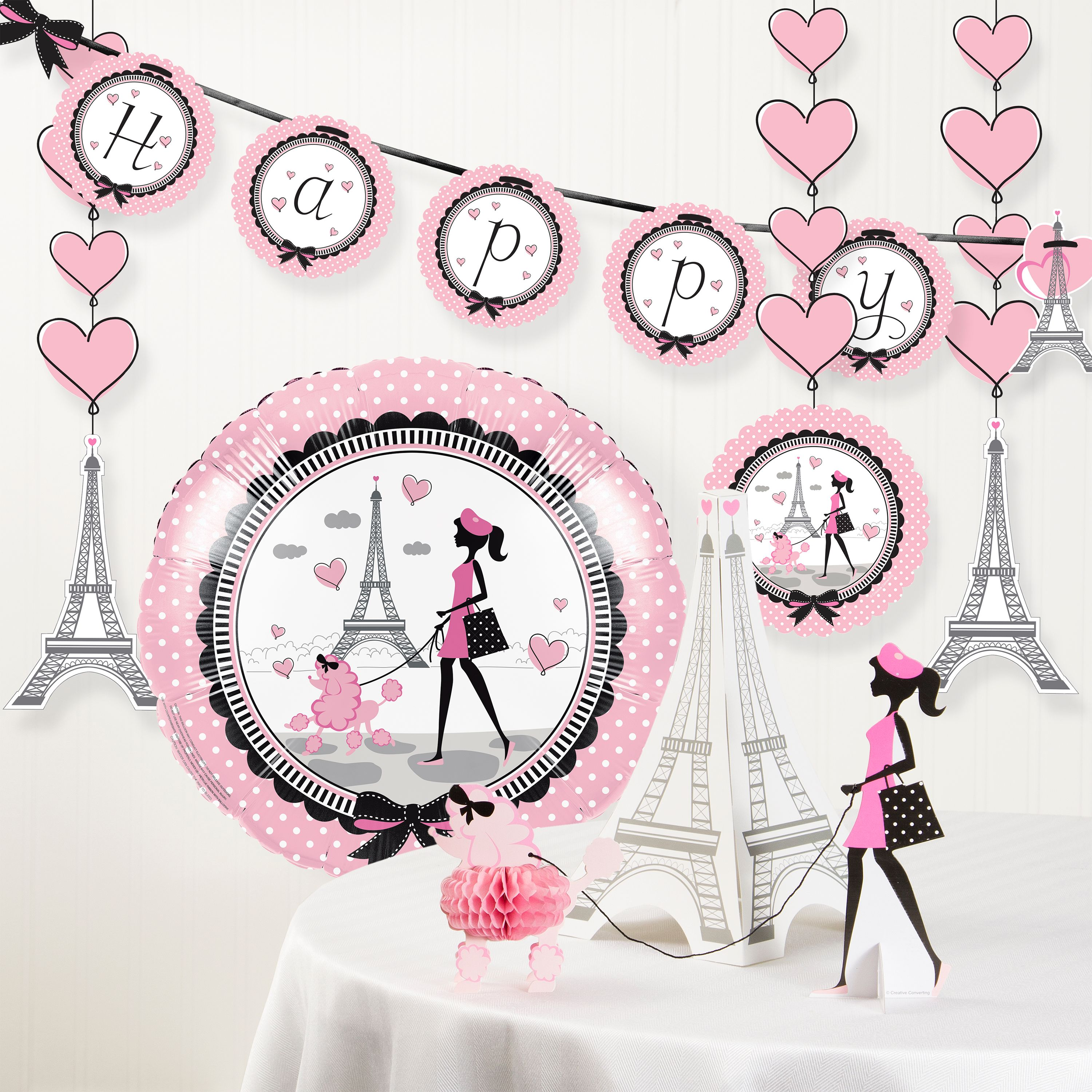 Party in Paris Birthday Party Decorations Kit