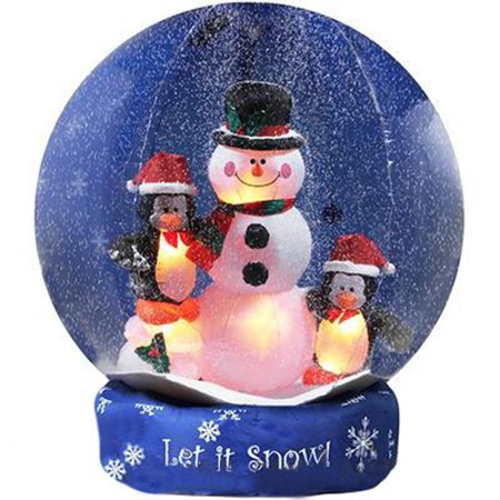 8' Airblown Inflatable Snowman and Penguins Christmas Lawn Decoration
