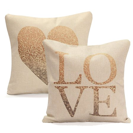 Admirable Meigar Love Heart Couch Cushion Pillow Covers 18X18 Square Zippered Cotton Linen Standard Decorative Throw Pillow Covers Slip Case Protector For Chair Creativecarmelina Interior Chair Design Creativecarmelinacom
