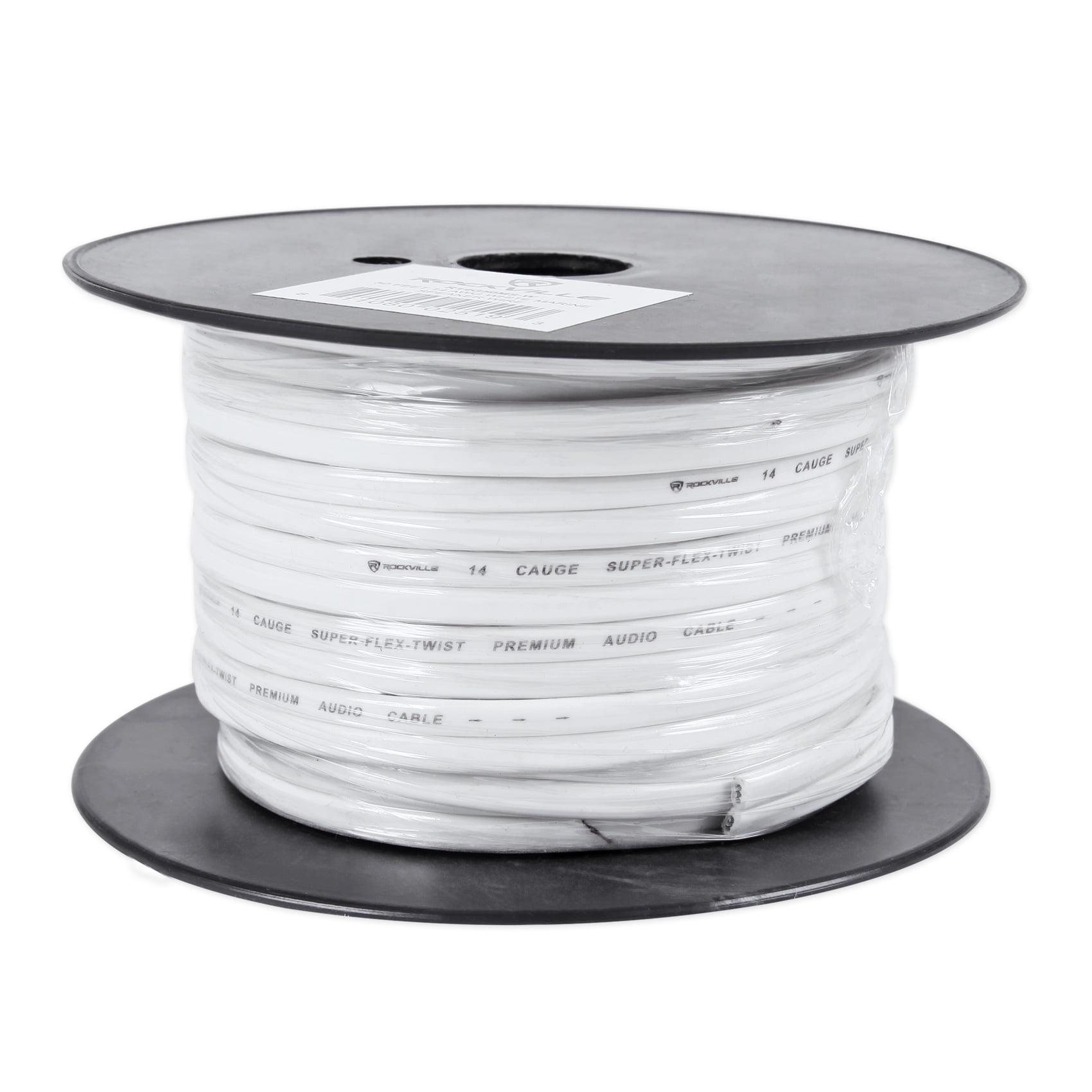 Rockville R14G50MSW 50 Foot Spool Marine Waterproof 14 AWG Speaker Wire White