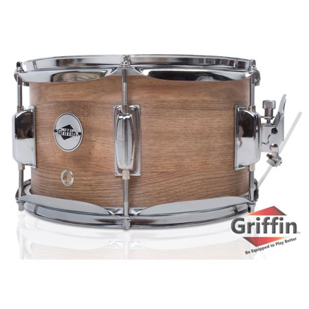 "Popcorn Soprano Snare Drum by Griffin Firecracker 10"" x 6"" Poplar Wood Shell with Oakwood PVC Concert Percussion Musical Instrument with Drummers Key and Deluxe Snare Strainer Beginner & Professional"