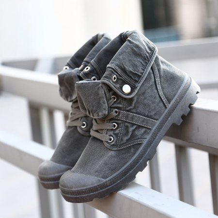 Men's High Top Canvas Sneaker Flanging Ankle Mid-Calf Boots Vintage Shoes - image 4 of 5