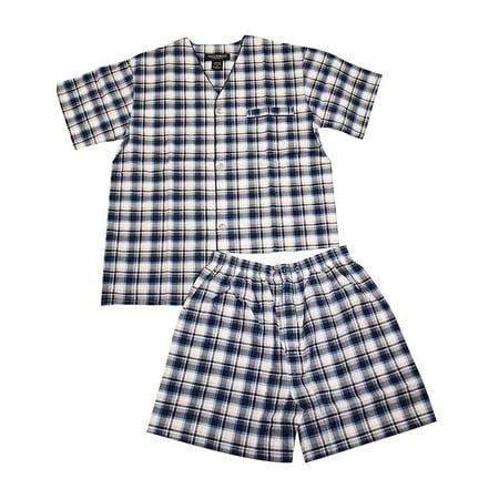 State O Maine - Mens Short Sleeve Knee Length Pajamas navy plaid 2 /