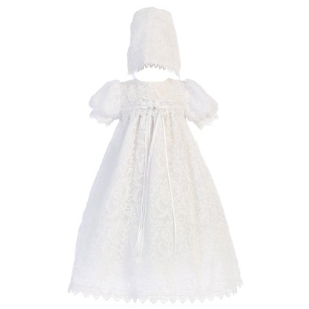 Baby Girls White Vintage Lace Overall Dress Bonnet Christening Set 0-3M (Next Christening Dresses)