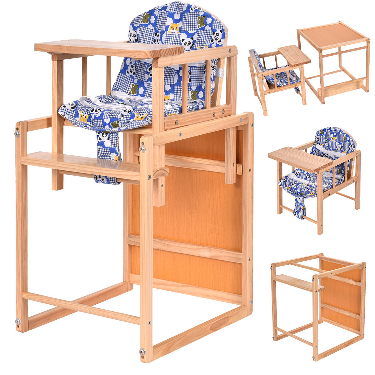 Costway 2 in 1 Solid Wooden Baby High Chair Feeding Infant Toddler Table Kids Child Home