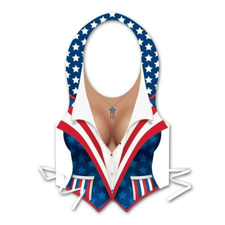 Club Pack of 48 Stars and Stripes Plastic Female Patriotic Vest Costume Accessories