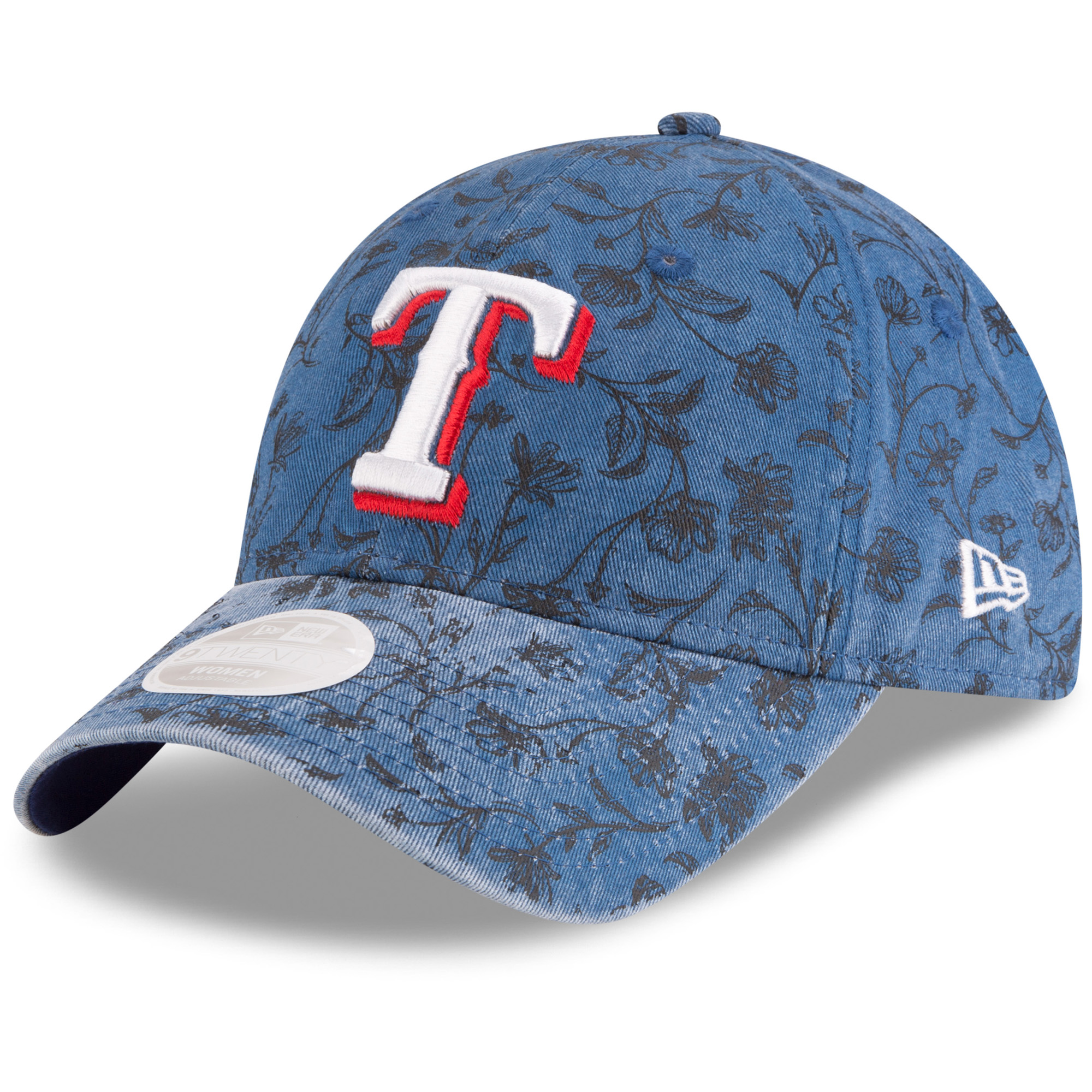 Texas Rangers New Era Women's Floral Peek 9TWENTY Adjustable Hat - Royal - OSFA