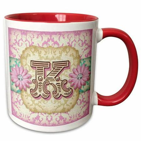 Symple Stuff Ferree Regal Pastel Mod Damask Monogram Coffee Mug (Cheap Monogram Stuff)