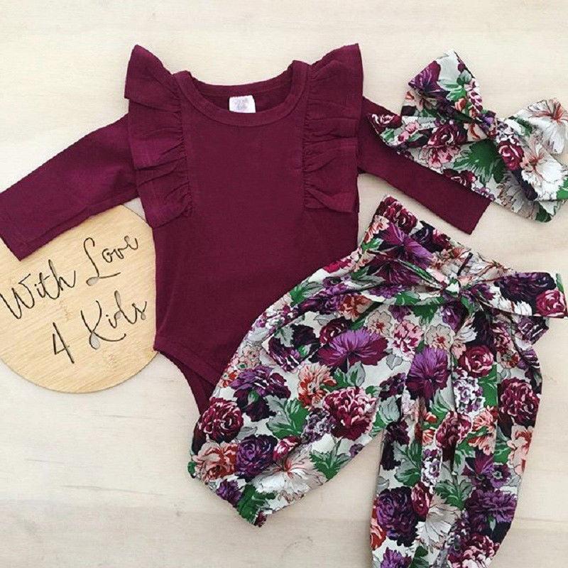Cute Newborn Baby Girls Cotton Tops Romper Floral Pants 3Pcs Outfits Set Clothes